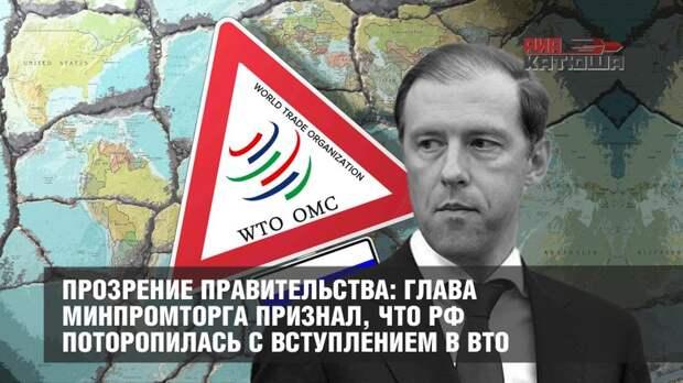 Прозрение правительства: глава Минпромторга признал, что РФ поторопилась с вступлением в ВТО