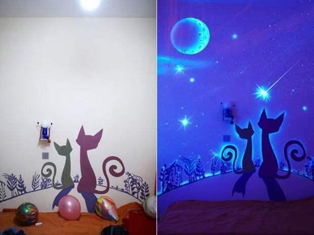 Креативные идеи для дома своими руками - люминесцентные рисунки на стенах