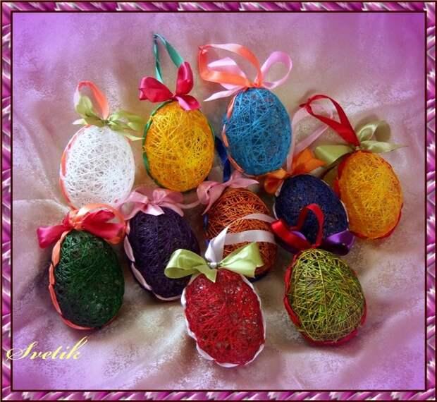 Яйца из ниток - украшаем дом к Пасхе