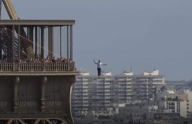 Француз прошел по канату от Эйфелевой башни до театра - видео