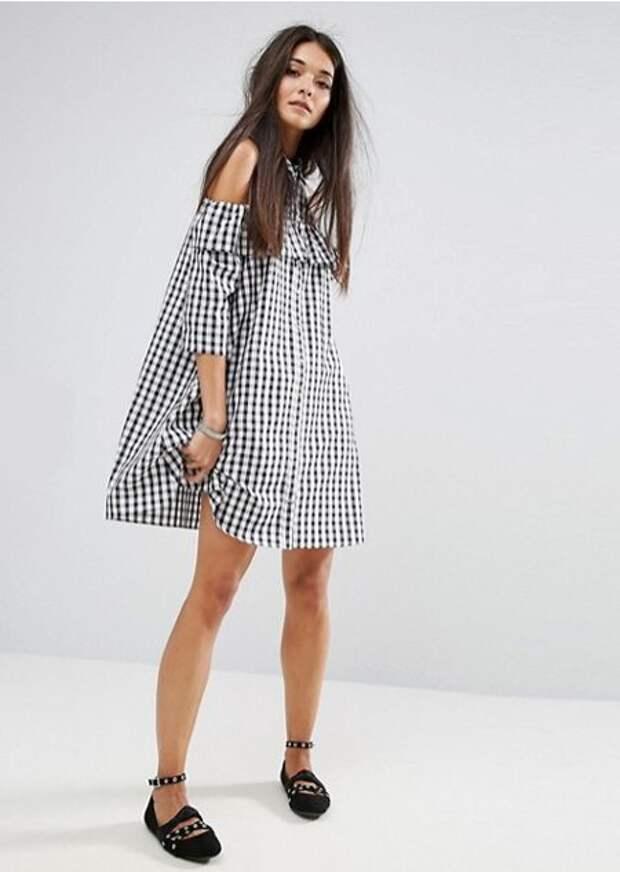 Модное платье-рубашка в клетку