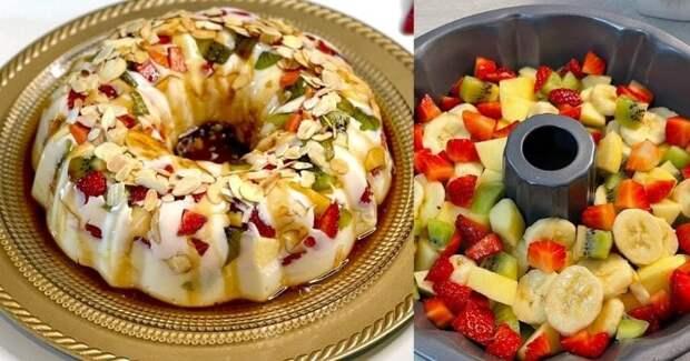 Сказочно вкусный десерт с фруктами без выпечки