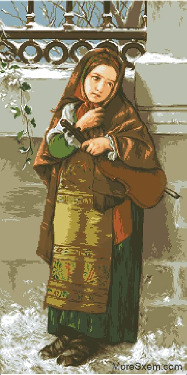 Гобелен девочка со скрипкой