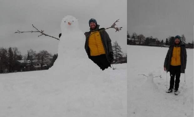 как сделать огромного снеговика