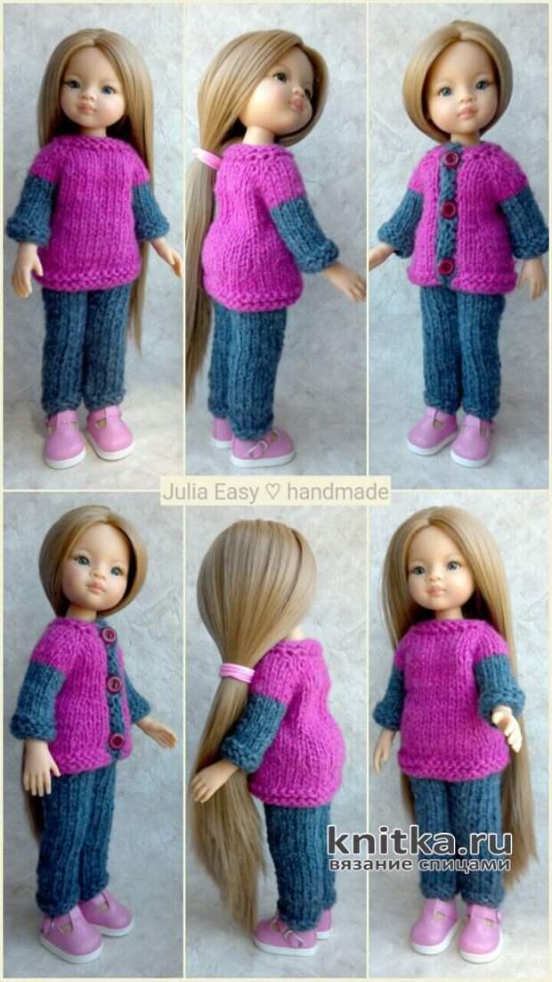 Вязаный костюм для куклы Paola Reina. Работа Julia Easy