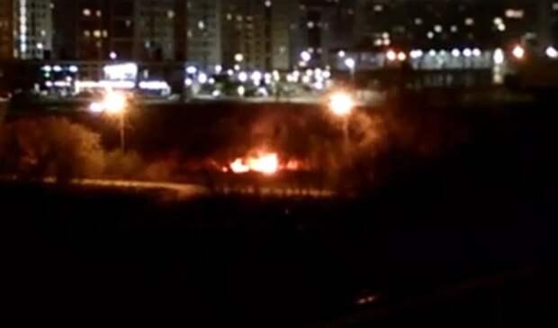 ВТюмени возле Профсоюзного моста горела трава