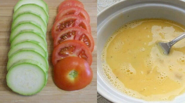 Я режу кружочками кабачки и помидоры, добавляю яйцо… А спустя 30 минут угощаю запеканкой!
