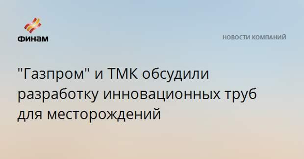 """""""Газпром"""" и ТМК обсудили разработку инновационных труб для месторождений"""