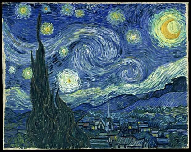 Туманность «Водоворот» (возможно) на картине Ван Гога (1889).