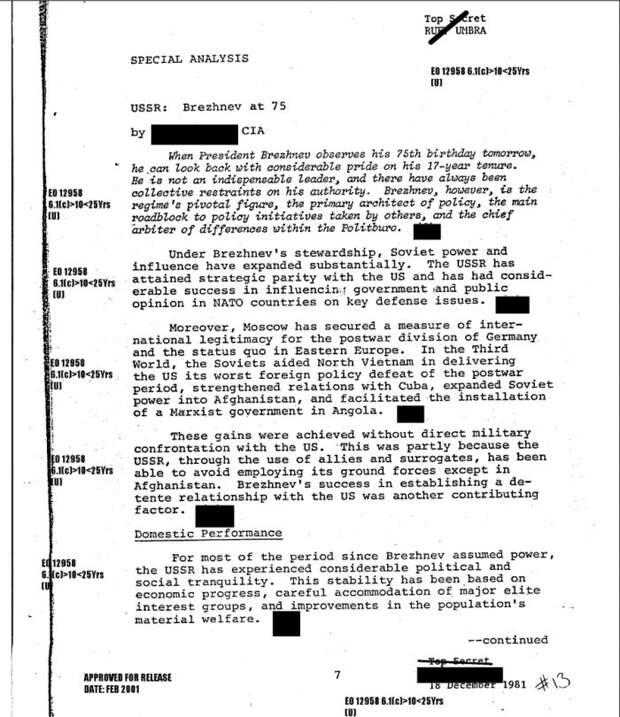 Аналитические записки ЦРУ о Брежневе и перспективах советской политики после его смерти. 1981 г.
