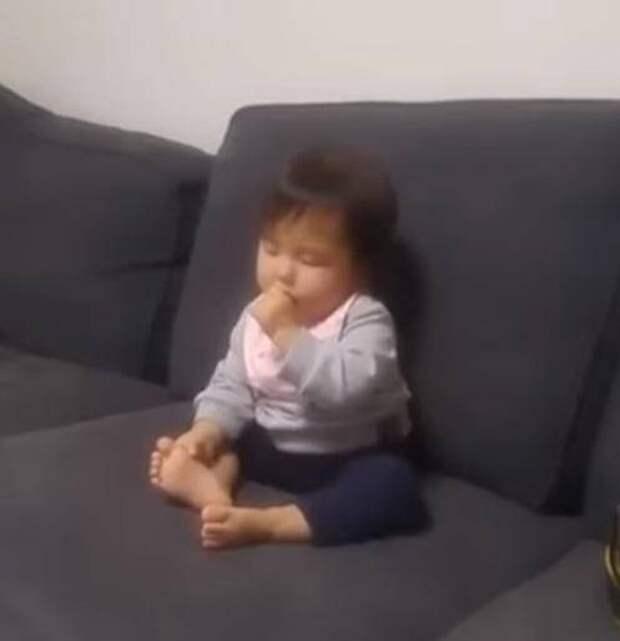 Маленькая чихуахуа заметила, что малыш падает, засыпая. Вот что она сделала..