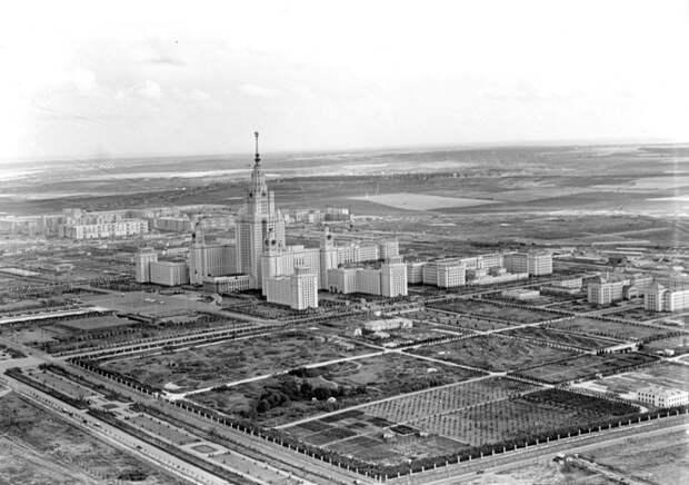 Вид на здание МГУ. 1956 год. история, факты, фото