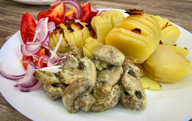 Картошка с беконом в духовке   Рецепт запеченной картошки с грибами