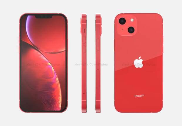 iPhone 13 на качественных рендерах и видео: уменьшенная чёлка, камера с новым расположением модулей и расцветка Product Red