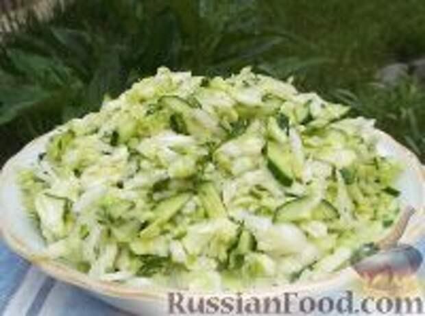 Фото приготовления рецепта: Салат из свежей капусты с огурцами - шаг №10