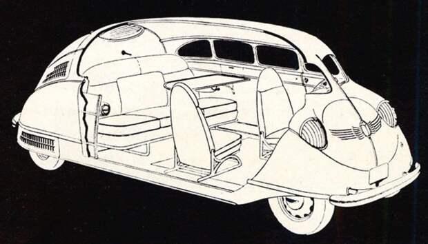 Эскизная схема компоновки «Скарабея» с широко разнесенными осями и пятиместным салоном авто, автодизайн, автомобили, дизайн, интересные автомобили, минивэн, ретро авто