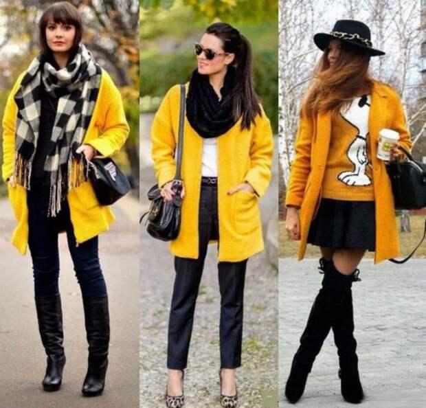 Желтый цвет в одежде: сочетания с другими цветами