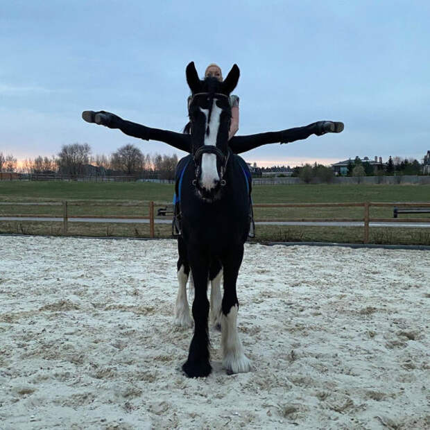 Шпагат Анастасии Волочковой верхом на лошади