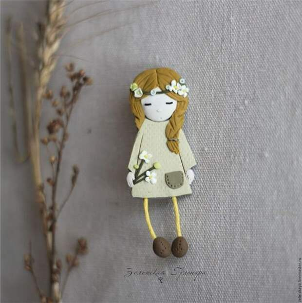 Брошки. Девочки из полимерной глины.  Автор: Гульнара Зелинская
