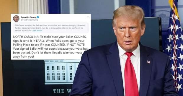 Twitter не понравилась очередная запись Трампа