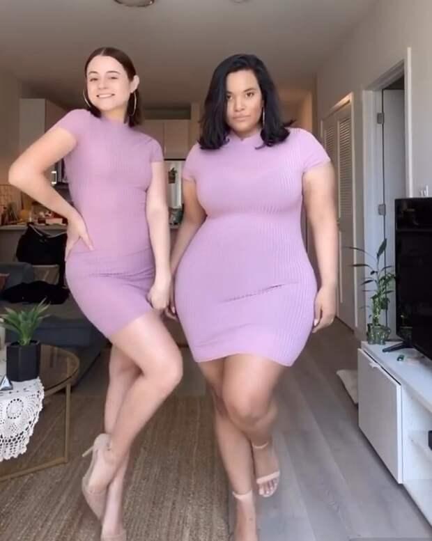 Подруги позируют в одинаковой одежде, показывая, как одни и те же наряды выглядят на девушках разных размеров