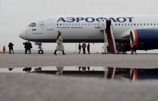 Самолёт Airbus A350-900 в цветах Аэрофлота в аэропорту Шереметьево под Москвой 4 марта 2020 года. REUTERS/Maxim Shemetov