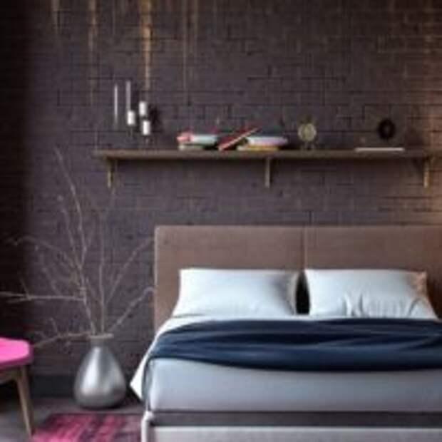 Малиновое кресло в темной спальне
