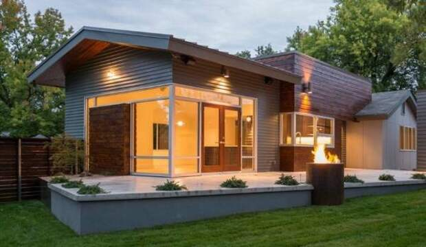 Металлический фасад дома - фото частных домов