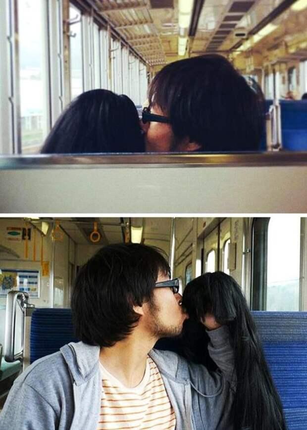 азиат в очках целует парик