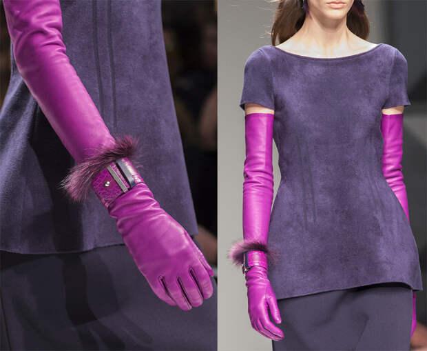 Длинные кожаные перчатки 2017-2018