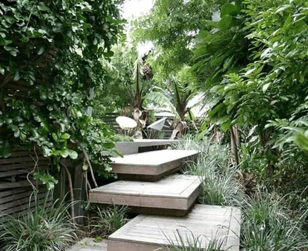 Лестница в дизайне участка. Оригинальные идеи