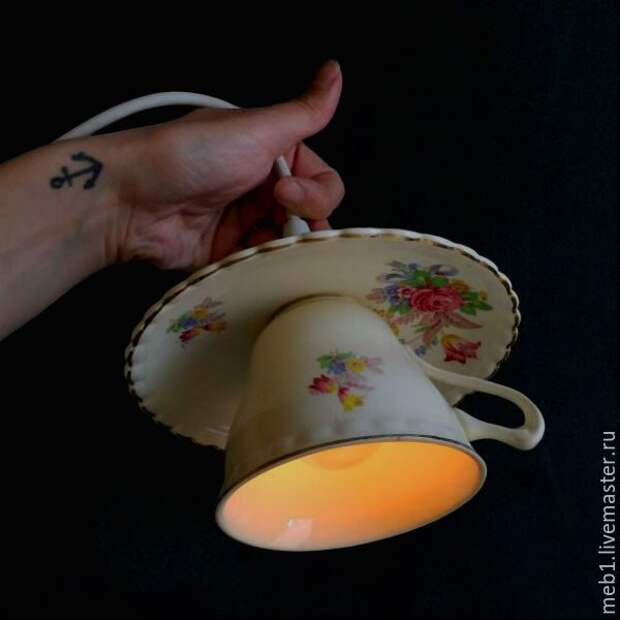 Уникальный светильник из чайной пары