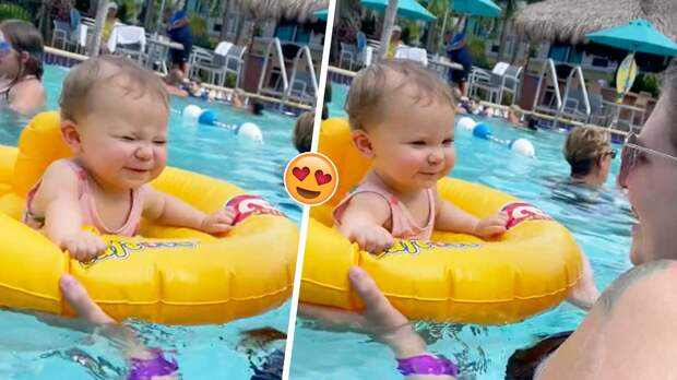 Малышка так мило станцевала в бассейне, что запустила тренд воспоминаний приятных моментов из жизни