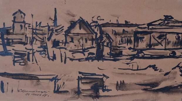 Деревни, посёлки и простая сельская жизнь отражались в его стихах и картинах