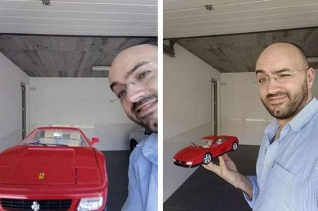 мужчина и красная машина