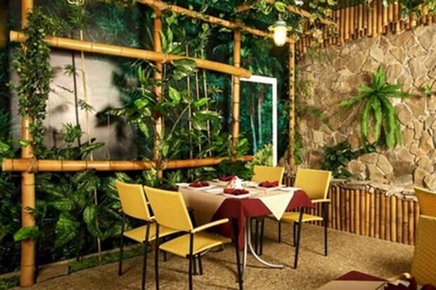 бамбуковый декор кафе