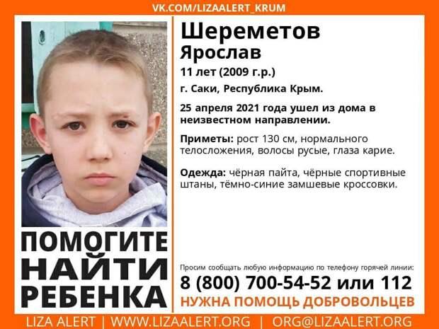 В Крыму разыскивают без вести пропавшего 11-летнего Ярослава Шереметова
