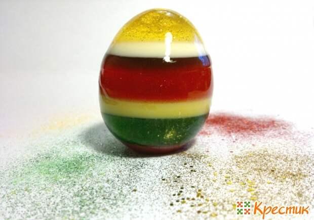Разноцветное мыло-желе в виде пасхального яйца своими руками