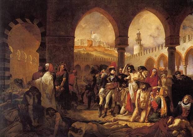 Наполеон навещает больных чумой в Яффе. Картина Антуана-Жана Гро.