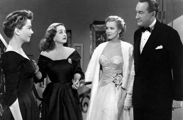Anne Baxter, Bette Davis, Marilyn Monroe and george sanders in All About Eve directed by Joseph L. Mankiewicz, 1950.jpg