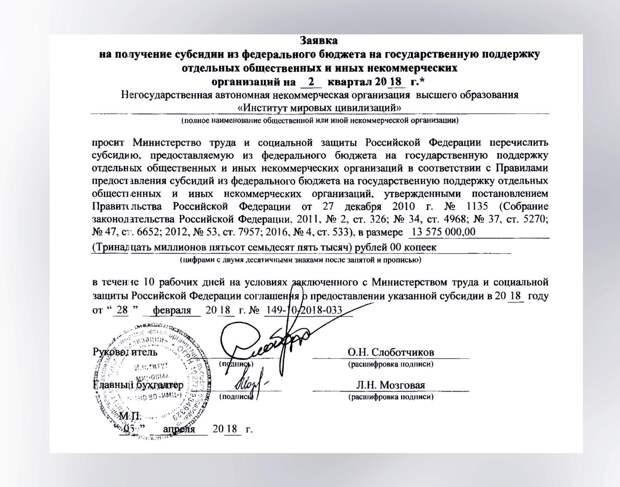 Бюджетные субсидии и госзаказы для института Жириновского
