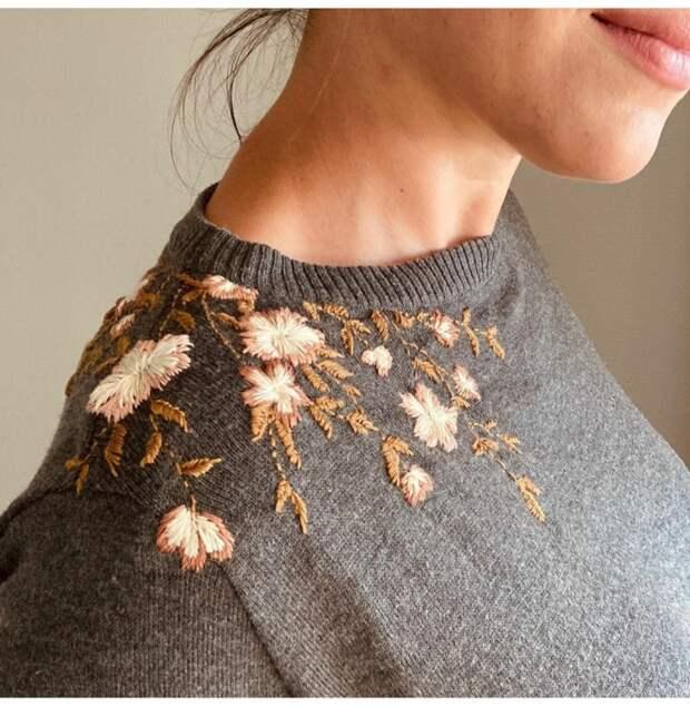Осенний свитер с вышивкой своими руками