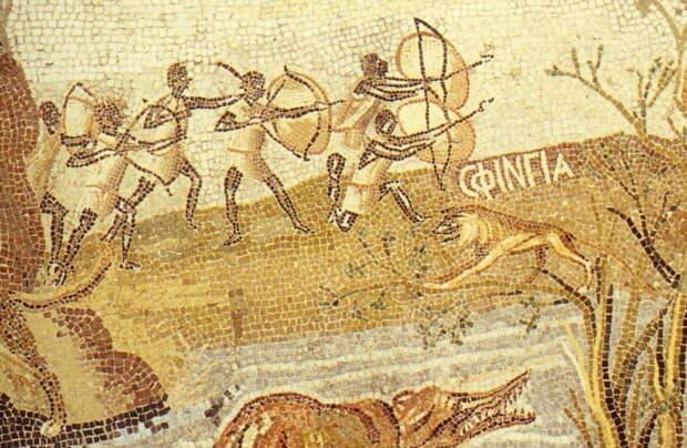 Эфиопы на египетской мозаике II века до н.э. из Палестрины - Войны Августа: Эфиопия и Аравия   Warspot.ru