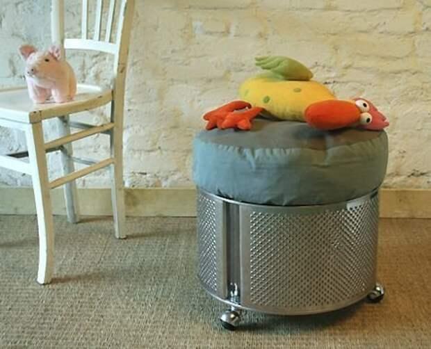 1. Пуф Фабрика идей, лайфхаки для дома и сада, переделки, своими руками, стиральная машина