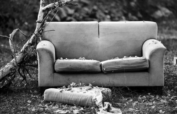 На проспекте Защитников Москвы старый диван выбросили прямо под окна соседей