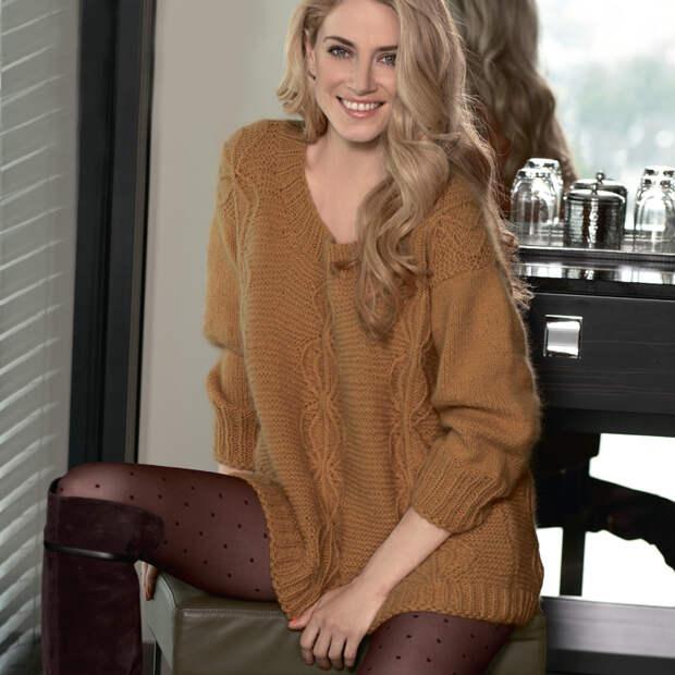 Пуловер оверсайз горчичного цвета