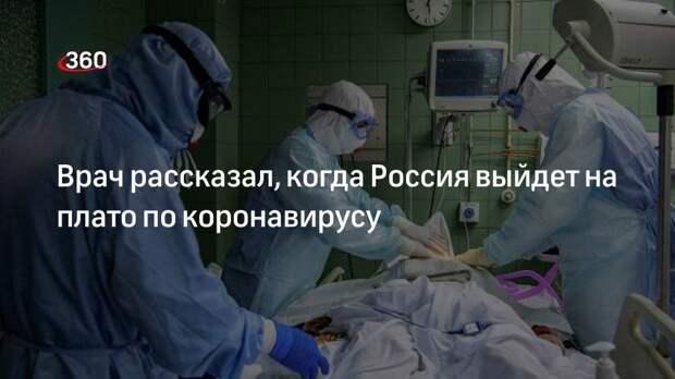 Врач рассказал, когда Россия выйдет на плато по коронавирусу