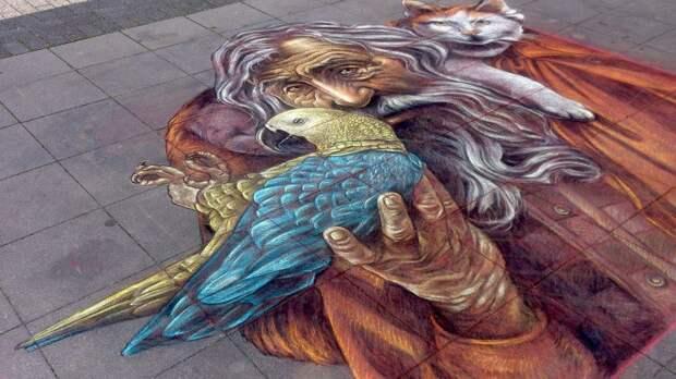 Как одна библиотекарша разрисовала тротуары