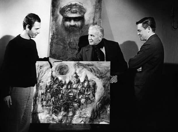 Роджер Корман и Винсент Прайс на съемках фильма «Дом Ашеров». Реж. Роджер Корман, 1960