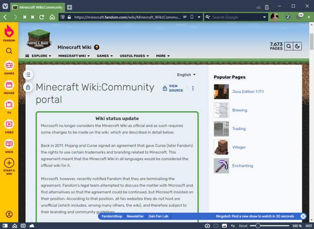Minecraft Wiki перестала быть официальной «энциклопедией Minecraft»